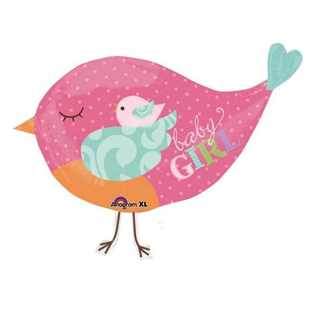 2pcslot Anagram Tweet Baby Girl Bird Pink Foil Balloons Kids Baby
