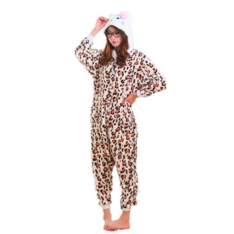 Anime Leopard Kitty Cute Cat Onesie Pyjamas Cartoon Animal Costume Adult Children Sleepw ...