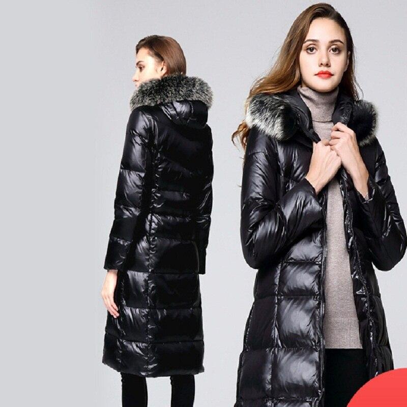 buy online 170be 703cf Collo Piume Volpe Di Cappotti Giacca Inverno Bianca Cappotto ...