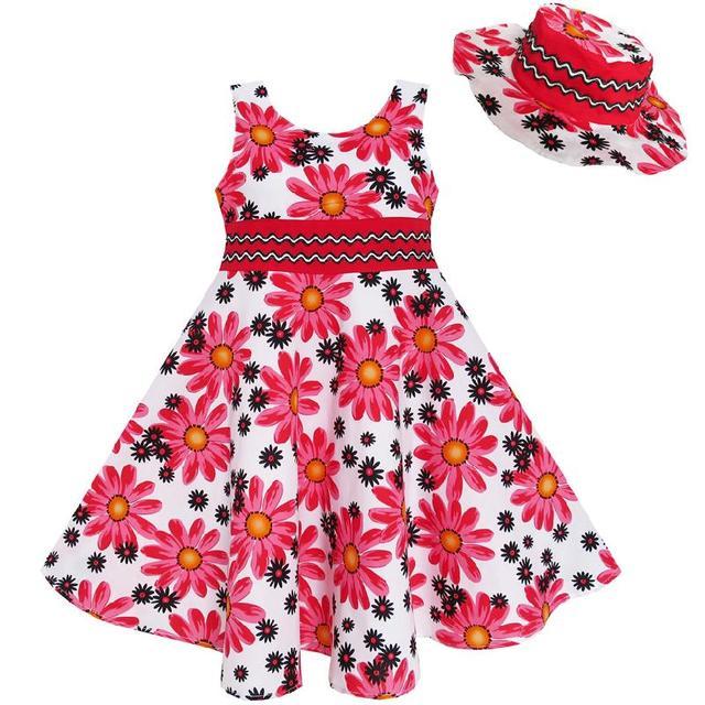 Sunny Fashion Vestidos niña 2 Pecs Sombrero Flor El verano Fiesta fiesta  Princesa 7b154d8c3da