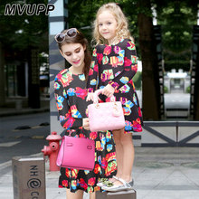 MVUPP Mother daughter dresses Knee Length Christmas Patterned Dress Black Christmas gift Print Autumn dress for mother & kids