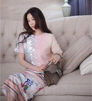 Women Sequin T-Shirt 2020 Hot Sale Summer Short Sleeves Tops Gradient Color Sequins Female Loose Tees T Shirt Pink 2