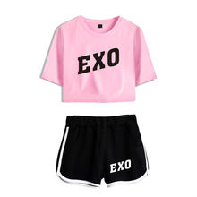 New Kpop Exo Two Piece Set Women Crop Top Femme Summer Short Pants Tracksuit Summer 2 Piece Set Womens Outfit Women Set(China)
