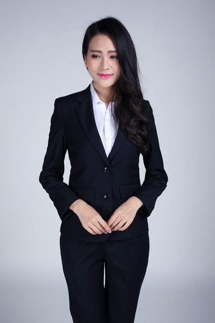 Plus Size S-3XL Mulheres Azul Escuro Calças Ternos Para O Desgaste Do Trabalho Formal Das Senhoras Ternos de Negócio Único Breasted Conjuntos Trajes Pantalon