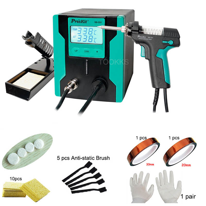 Pro'sKit SS-331H ESD LCD Digital Vacuum Desoldering Pump BGA  Electric  Solder Sucker Gun Desoldering Suction With BGA Tools