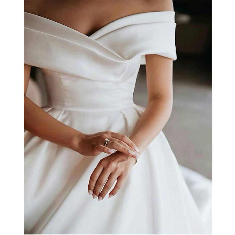 Al largo Della Spalla Dell'abito di Sfera Della Principessa Abiti Da Sposa Pieghe Raso Abiti Da Sposa D'epoca Elegante Vestidos De Noiva Più Poco Costoso