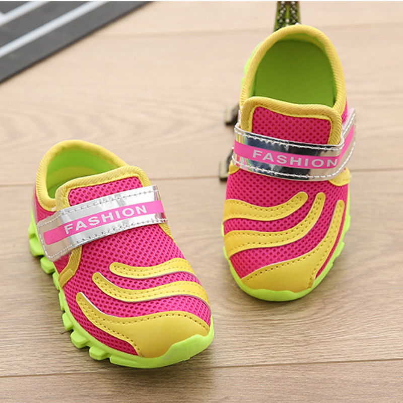 2016 kids shoes girl Boys sneakers Kids Fluorescent color mesh Breathable air cushion sports Children girls - Puzzle Bobble baby store