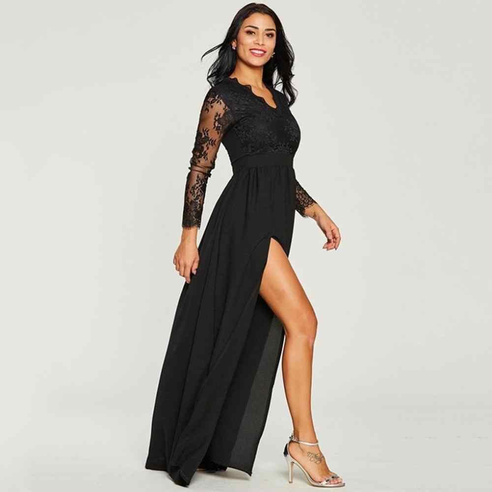Renda preta vestido de Noite Vestidos de Mangas Compridas Com Decote Em V Alta Dividir Vestido Formal Sexy Ilusão Chiffon robe de soiree Partido Senhoras Vestido