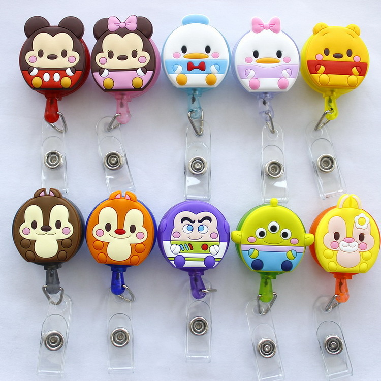 Mickey Minnie Toy Story Retractable Badge Reel High Quality Silicone Cartoon Student Nurse ID Name Card Badge Holder