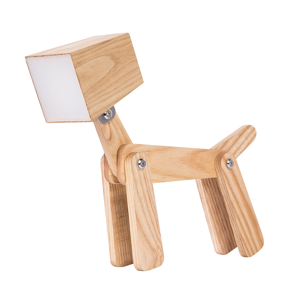 Modern Design Dog Wooden Touch Control Beside Table Lamp