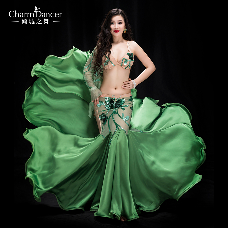 Newest High Grade Professional Performance Dancewear Bra+skirt Outfit Women Brand Bellydance Costumes   YC045