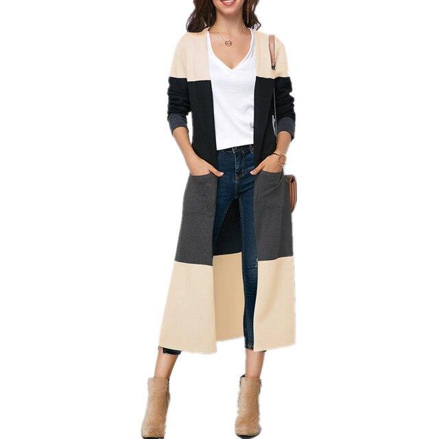 LOSSKY Màu Chắp Vá Dài Áo Khoác Cardigan Giản Dị Dài Tay Áo Phụ Nữ Mùa Thu Túi Slim Chia Coat Outwear Trench 2018 Thời Trang