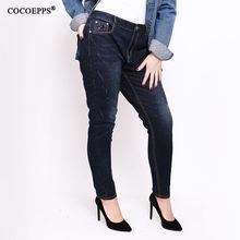 9bf0dd90fef2 2018 Printemps taille haute bande élastique jeans pour femmes grande taille  Pantalon Automne Maigre Demin Feminino Casual Classi.