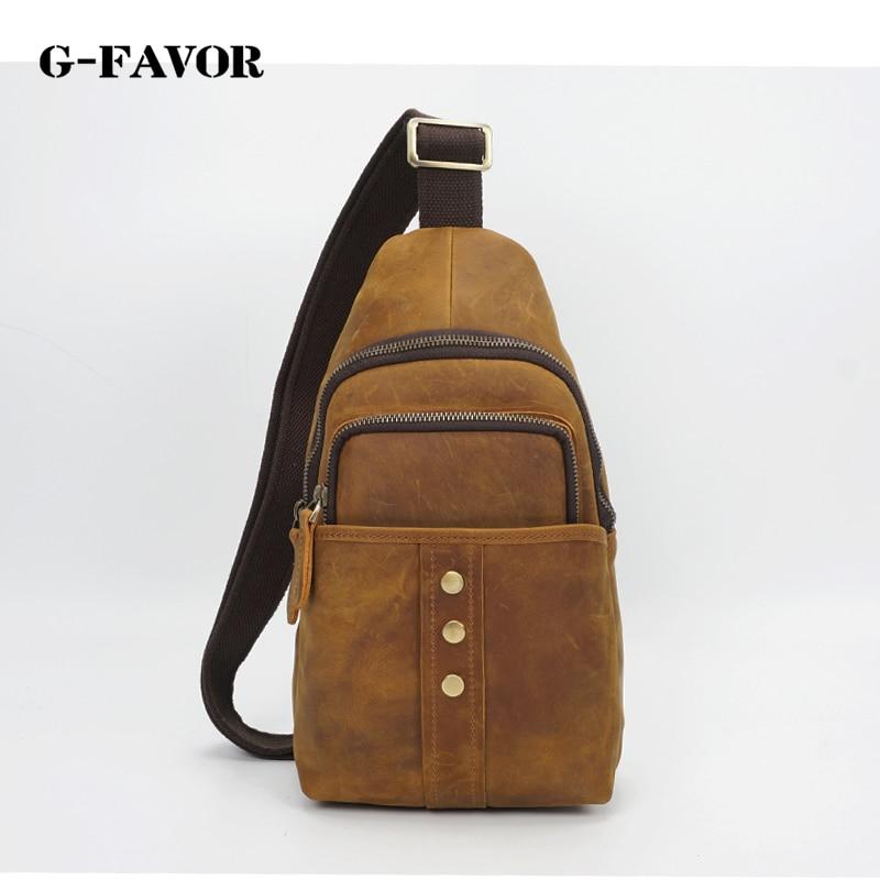 G-FAVOR High Quality Vintage Brown Real Crazy Horse Leather Chest Bag Satchel Bag Shoulder Bag for Men yds 200m 4 x 200mm self locking nylon cable tie wraps white 500 pcs page 7