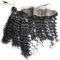 Paquetes de pelo de la onda profunda del peruano de Ross Pretty Remy con el pelo frontal del bebé y el pelo humano Pre desplumado Frontal con paquetes