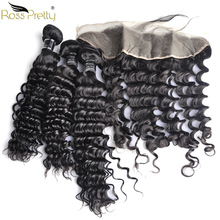 Ross Pretty Remy Peruvian Deep wave Hair bundles with frontal Baby and Pre Plucked Human Lace Frontal Bundles