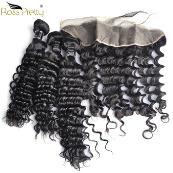 Ross Pretty Remy Peruvian Deep wave Hair bundles with frontal Baby Hair and Pre Plucked Human Hair Lace Frontal with Bundles