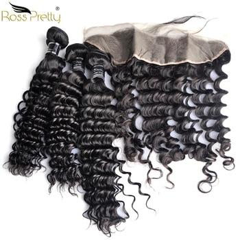 Ross Ziemlich Remy Peruanische Tiefe welle Haar bundles mit frontal Baby Haar und Pre Gezupft Menschenhaar Spitze Frontal mit bundles