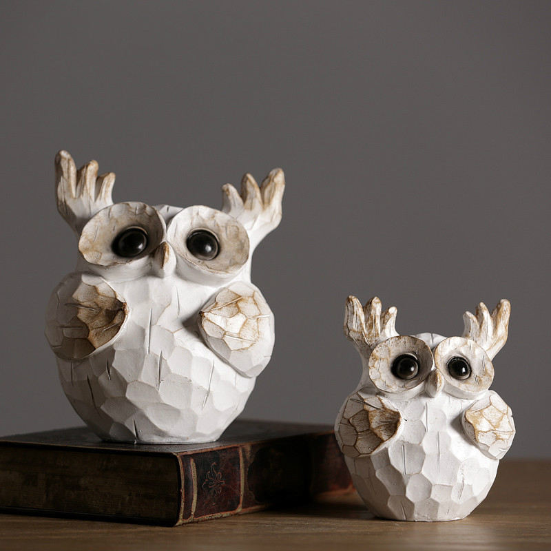 Résine vieux hibou ornements créatifs maison américaine nordique décorations salon Tv meuble doux ameublement cadeau