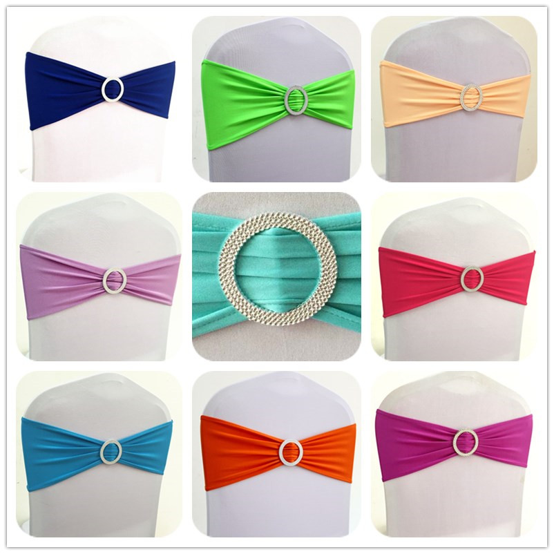 100pcs Stretch Spandex Lycra Chair Sash Bands With Round Buckle Elastic Banquet Chair Bow Tie For