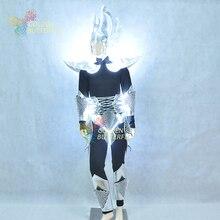 LED Bone Robot Costume Luminous Dragon Horn Helmet Light Clothing Dance Suit Men Halloween Science Fiction Movie Robot Costumes