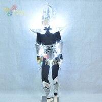 Robot Kostium Świetlna LED Kości Smok Róg Kask Światło Ubrania Taniec Kostium Mężczyźni Science Fiction Film Robot Kostiumy Halloween