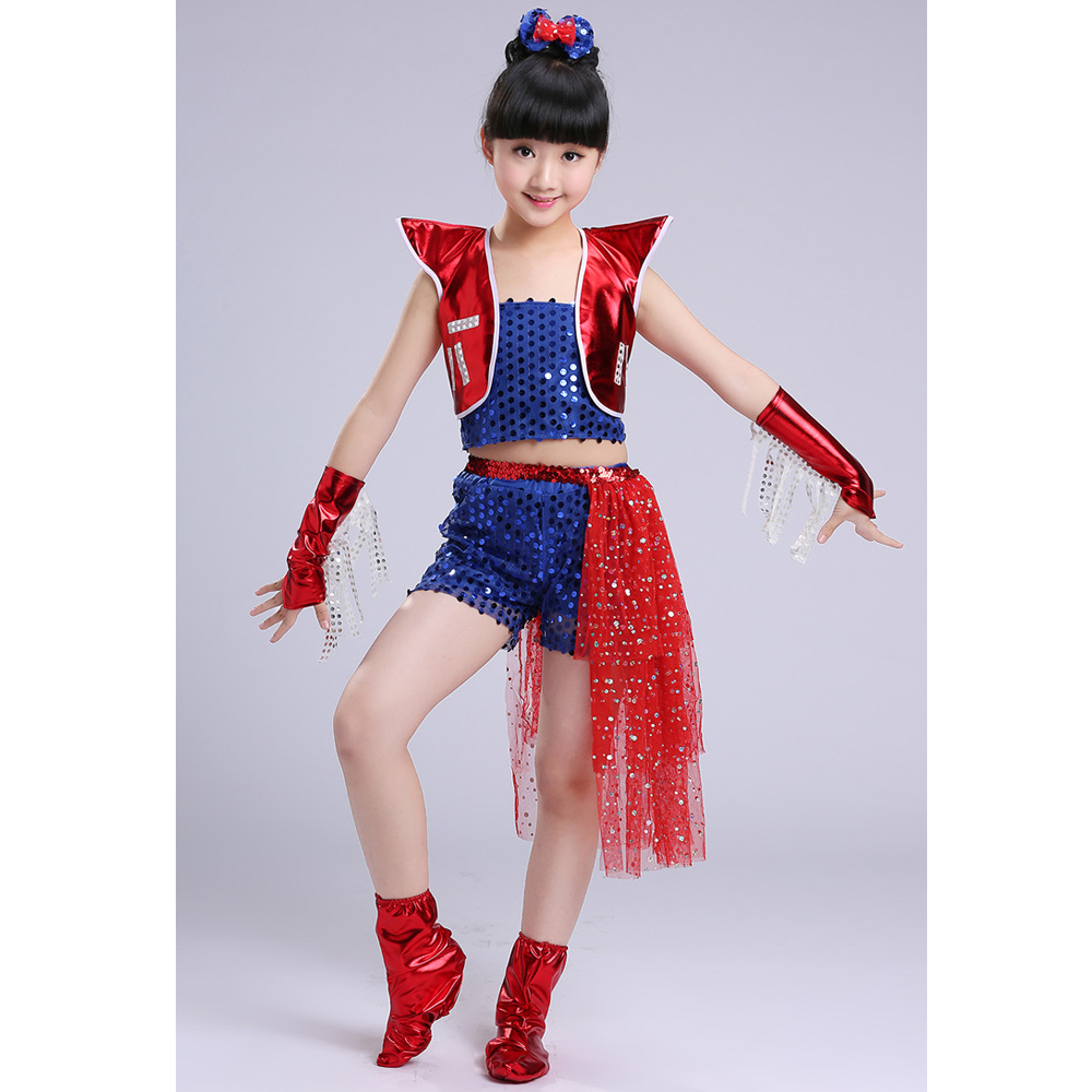 5c7d7ec77 Children Sequined Jazz Dance Clothing Girls Street Dance Hip Hop ...