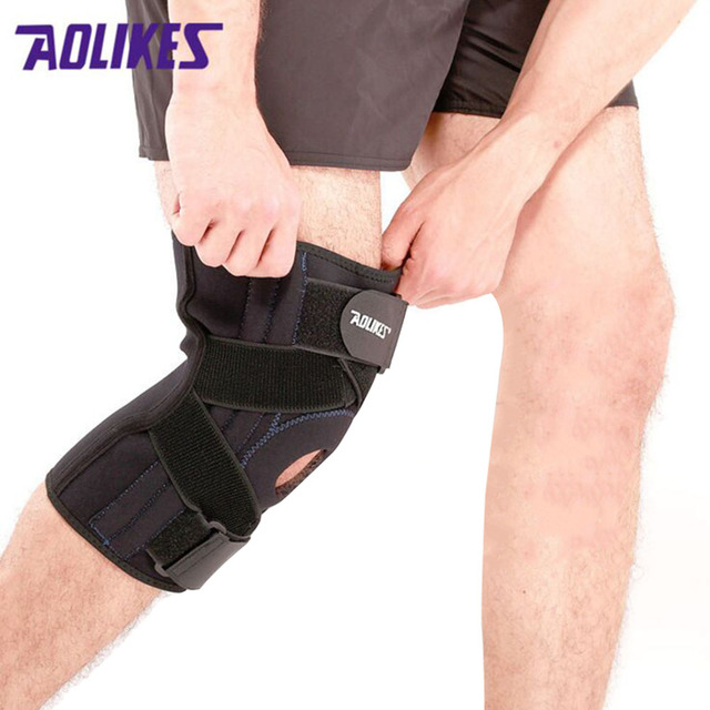 9ecc7667ee 1 PCS Knee Brace with Spring Support breathable Sextet Lock Knee Protector knee  support professional protective