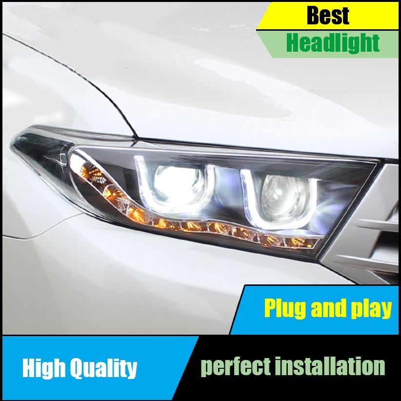 Car Styling Headlight for Toyota Highlander / KLUGER headlights 2012 2013 2014 Led Head Lamp U Angel eyes DRL Bi-Xenon Lens