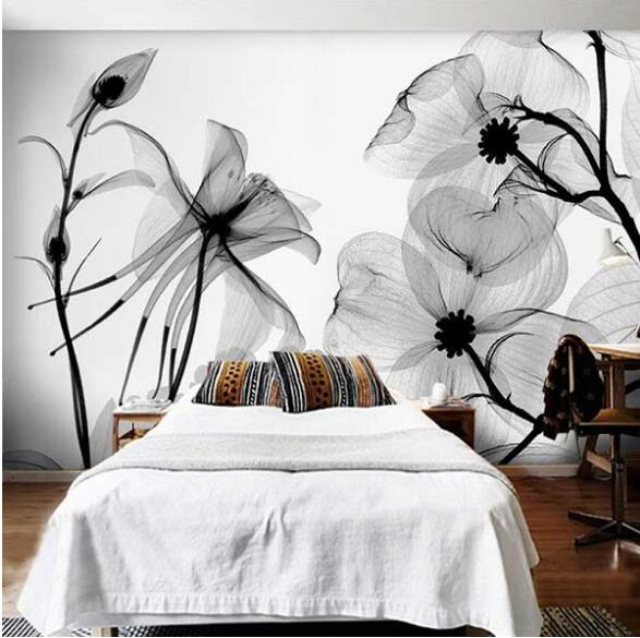 Us 879 52 Offblack White Flower 3d Abstract Photo Mural Wallcoverings Wallpapers Murals Wall Paper Roll Bedroom Wall Decor Custom Any Size In