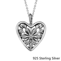 925 Sterling Silver Pendants European Style Jewelry Heart Of Winter Necklace For Women Original Fashion Charms