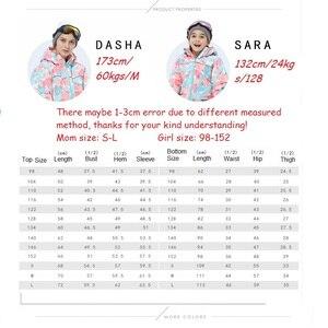 Image 5 - Trajes de esquí de las muchachas de la madre impermeables calientes chaquetas de esquí del snowboard de los niños a prueba de viento + pantalón de invierno adultos niños ropa de esquí traje