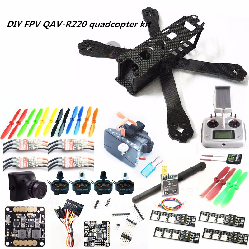 DIY FPV mini drone QAV-R220 220mm quadcopter kit D2204+Red Hawk BL12A ESC+ NAZE32 10DOF + 700TVL camera + Video goggles + FS-I6S diy fpv mini drone qav210 zmr210 race quadcopter full carbon frame kit naze32 emax 2204ii kv2300 motor bl12a esc run with 4s