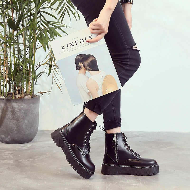 AIYUQI Martin çizmeler kadın İngiliz rüzgar öğrenci gelgit yeni retro lace up kısa çizmeler kadın sonbahar patent deri yarım çizmeler kadın