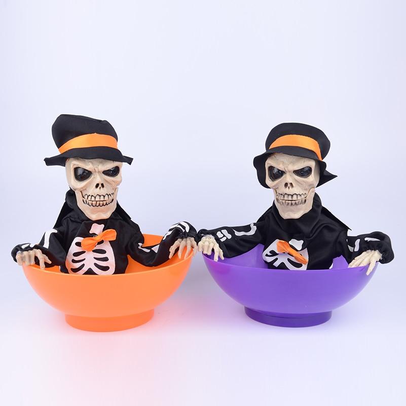 1 Piece Halloween Horror Skull Candy Bowl Toys Scary Light Control Halloween Skull Trick Prank Joke Novelty Toys for Gifts prank chips bounce snake trick toys