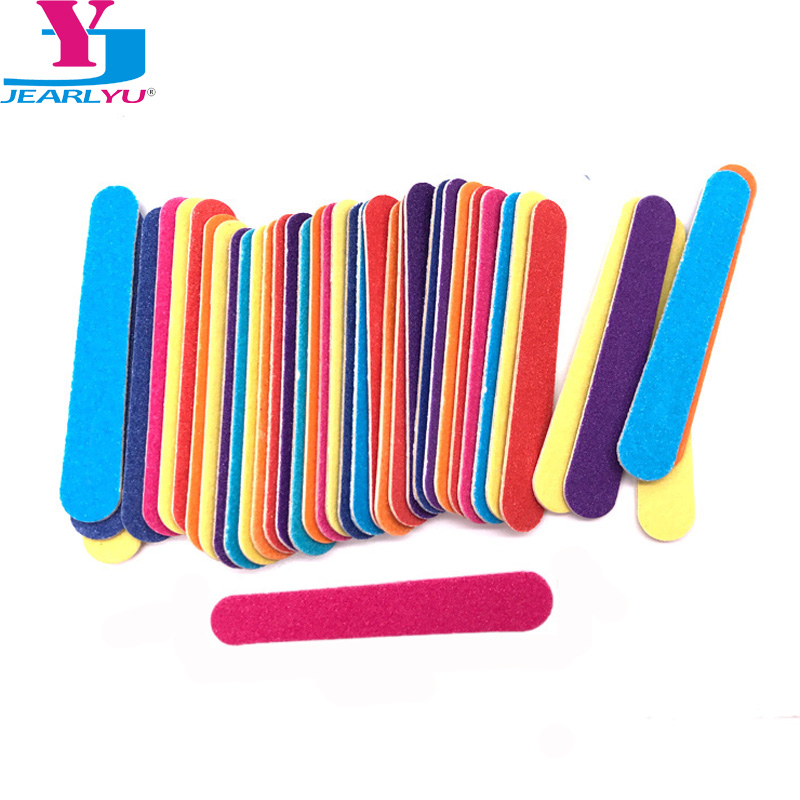 100 Pcs Mix Color Wood Nail File 180/240 Disposable Sandpaper File Gel Nail Polish Nagel Vijl Mini Nail Files Lime Per Unghie