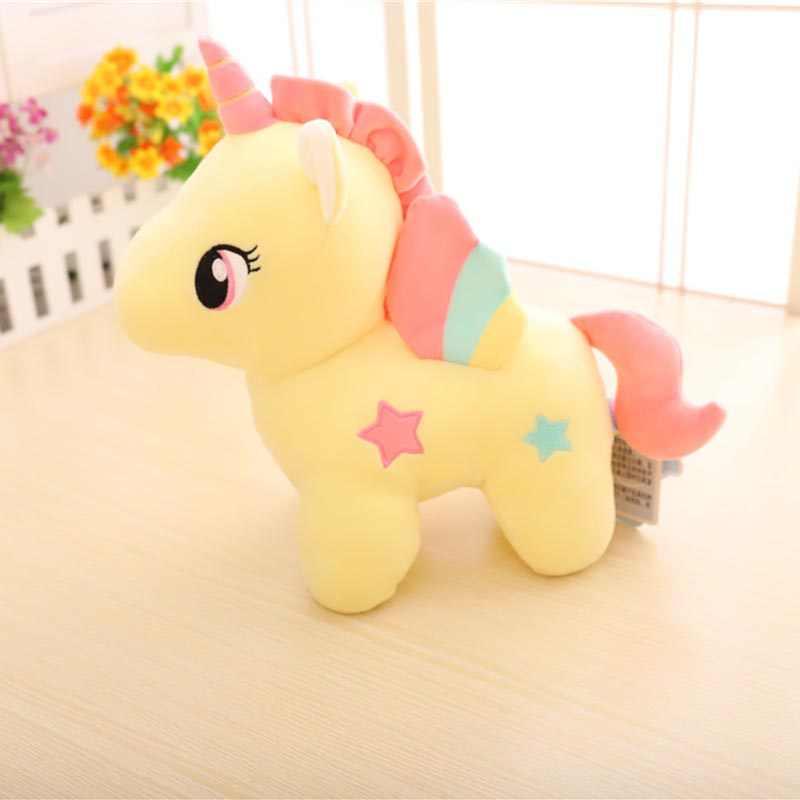 Pluszowe jednorożce bardzo delikatny róż żółty mały konik z kolorowymi skrzydłami wypchane zwierzę miękkie lalki dla dzieci zabawki wysokiej jakości