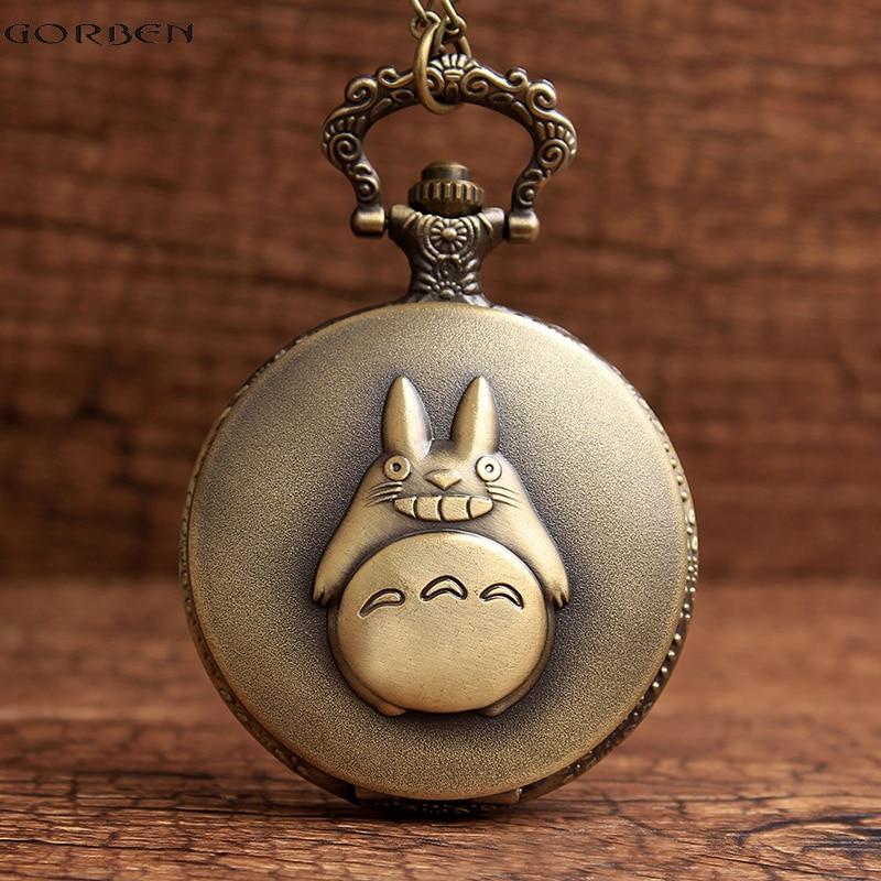 Bronce antiguo Mi Vecino Totoro Anime Collar Reloj de Bolsillo Retro Cuarzo Flip Fob Reloj Cadena Colgante de La Vendimia Para Hombres Mujeres