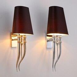 Nowoczesne żelazko pazur róg tkaniny ściana światło lampy sypialnia lampki nocne ściany E27 oprawa podwójny suwak kinkiety ścienne oprawy oświetleniowe w Wewnętrzne kinkiety LED od Lampy i oświetlenie na