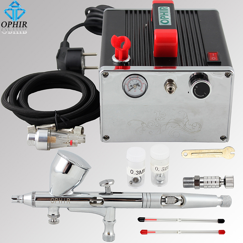 OPHIR Pro 3 Tips Air Brush/Airbrush Kit with Air Compressor for Nail Art & Model Paint Tanning Air-brush Gun Set _AC091+AC070