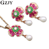 Exquisite Jewelry Platinum Champagne Gold Plated 3 Leaf Flower Natural Emerald Ruby Pearl Pendant Necklace Earrings