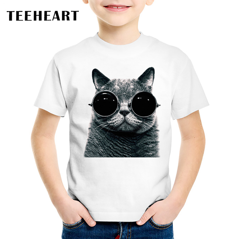 18M-10T Cool Glasses Cat Print Modal t shirt Kids Animal T-Shirts Children Baby Girls Clothing TA058