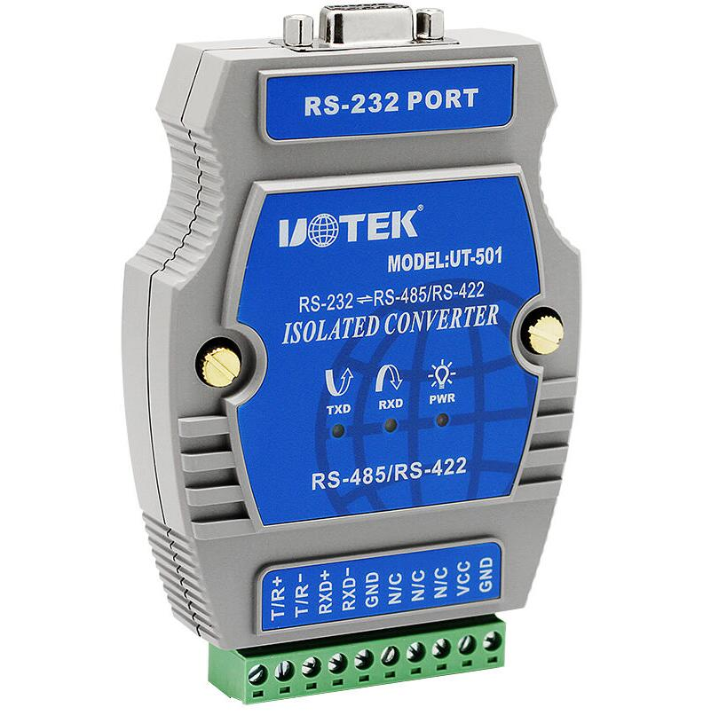 UT-501 Industrial RS-232 to RS-485/422 Port-Powered Converter with Isolation NO Power Photoelectric external powered rs 485 422 repeater rail mounted photoelectric isolation