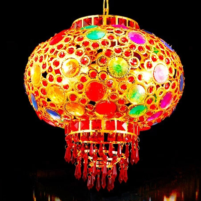 30CM Chinese Lantern Festive Wedding Handmade Crystal Beads 360 Rotating Balcony Droplight Ceiling Lamp Party Wedding