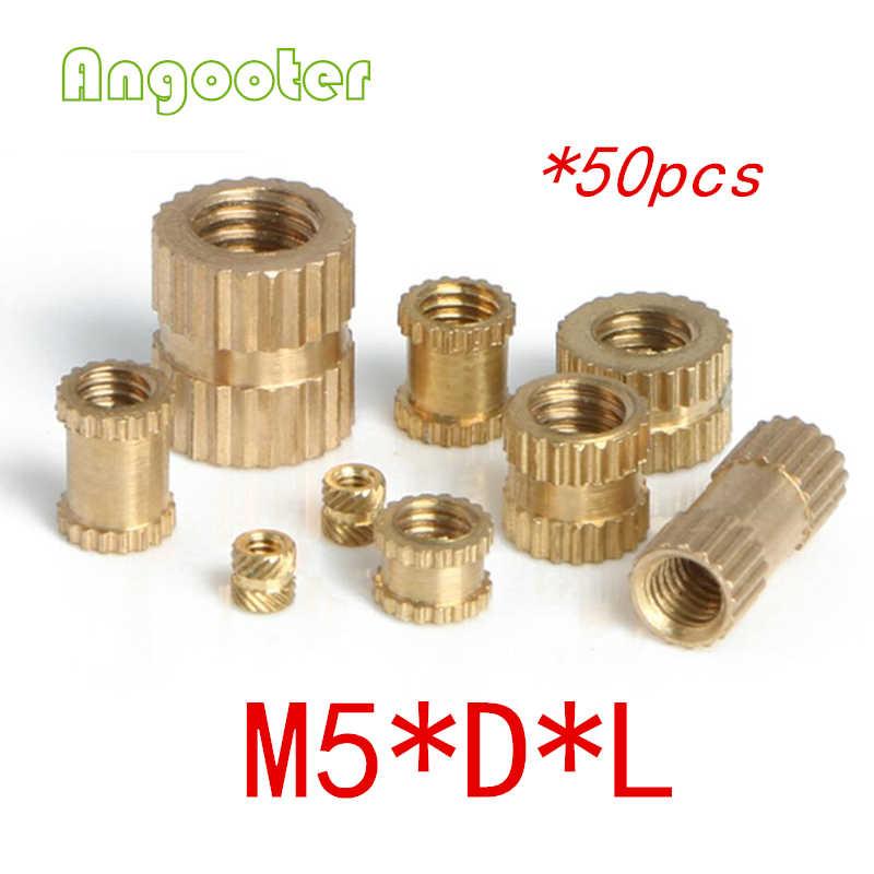 50pcs M5 Through thread brass insert nut/Brass insert nut/knurled thumb nut/knurled nuts for injection moulding/