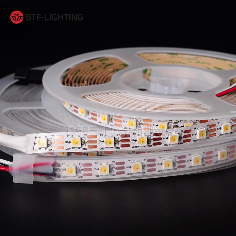 1m / 4m / 5m SK6812 (warm wit + koel wit + oranje kleur) led pixelstrip, 60 leds / pixles / m; individueel adresseerbaar, IP30 / IP65 / IP67 DC5V