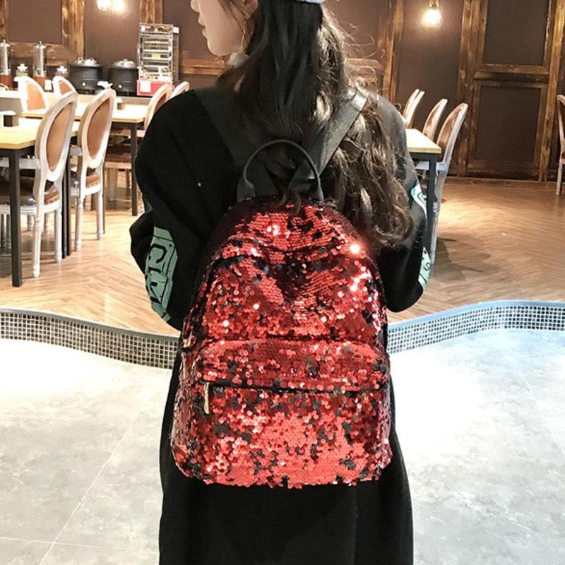 Sequins Glitter Bling Backpacks Teenager Girls PU Leather Backpack Girls Shoulder School Bag Travel Rucksack 4
