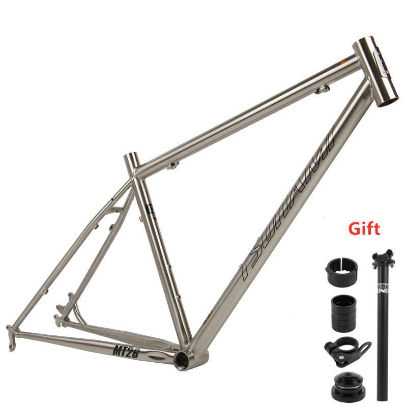 TSUNAMI MTB Reynolds 520 Steel Mountain Bike Frame 26/27.5/650B Classic Silver 15.5/17/18.5 Inch Bicycle Frame