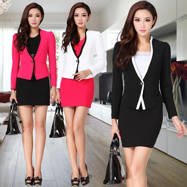 2013 Summer Autumn Formal Women Skirt Suit Professional Ladies Working Suits Work Wear Slim Career Sets Plus Size XXL Uniform