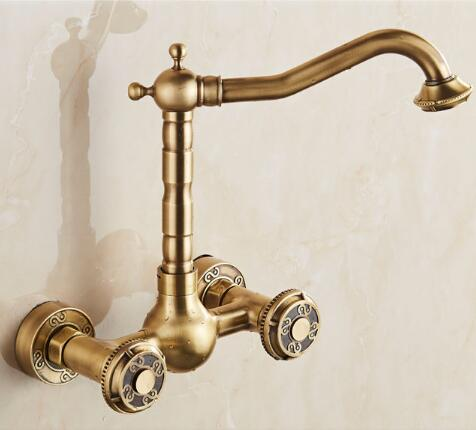 brass material wall mounted antique kitchen faucet hot and cold single lever kitchen sink tap basin faucet mixer basin faucet high quality single handle brass hot and cold basin sink kitchen faucet mixer tap with two hose kitchen taps torneira cozinha